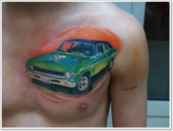colored-ink-car-tattoo-on-man-chest
